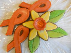 Vanilla Glazed Chocolate Jonquil & Ribbon Cookies for Leukemia Fundraiser by Robin Traversy {The Cookie Faerie}.