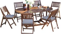 Everything you need for a dinner for six, in a set that fully folds up and tucks away. The set includes a fully assembled folding oval table and six folding chairs with cushions and covers. Suitable for outdoor use. Furniture > Outdoor Furniture > Outdoor Dining Sets.