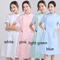 Wish | Women's Short Sleeves Medical Uniform Mandarin Collar Lab Coats