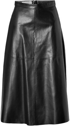$2,994, Black Leather Full Skirt: Valentino Leather Midi Skirt. Sold by STYLEBOP.com. Click for more info: https://lookastic.com/women/shop_items/156497/redirect