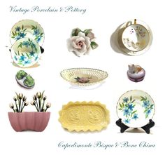 """""""Vintage Porcelain & Pottery, Capodimonte Bisque & Bone China"""" by anna-ragland ❤ liked on Polyvore featuring interior, interiors, interior design, home, home decor, interior decorating, Modern Vintage, Bordallo Pinheiro and vintage"""
