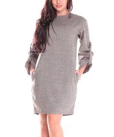 091c8e9b Dioni Beige Roll Tab-Sleeve Sheath Dress. Casual EleganceDay DressesCasual  ...