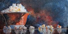 """Daily Paintworks - """"Popcorn on Movie Night Again"""" by Carlene Dingman Atwater popcorn painting"""