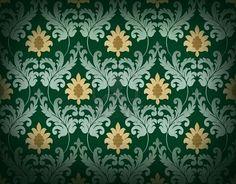 Emerald green renaissance-style wallpaper