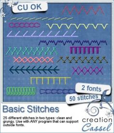 Basic Stitches - Font - Are you tired of looking for the perfect stitching, in the correct color and the shape you want?