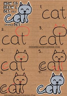 Learn how to draw a cute cartoon kitty cat from the word cat. This another tutorial in our fun cartoon words series. Have fun! drawing for kids How to Draw a Cat from the word Cat Easy Drawing Tutorial for Kids - How to Draw Step by Step Drawing Tutorials Easy Drawing Tutorial, Drawing Tutorials For Kids, Drawing Tips, Drawing Ideas, Easy Drawing For Kids, Drawing Art, Easy Cat Drawing, Drawing Poses, Pixel Drawing