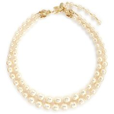 Miriam Haskell Bird clasp two strand Baroque pearl choker necklace ($315) ❤ liked on Polyvore featuring jewelry, necklaces, white, graduation necklace, miriam haskell necklace, white choker, strand necklace and graduation charms