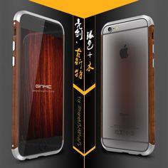 Ginmic Sword Ultra Slim Wood & Aluminum Metal Bumper Case for Apple iPhone 6S/6 & iPhone 6S Plus/6 Plus