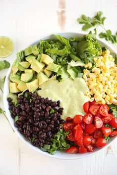 This Southwestern Salad with Creamy Avocado dressing is healthy, crunchy and loaded with tons of veggies!