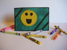 Fabric Postcard Smiley Face Smilie Face Smile by CooperStudios, $8.95