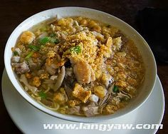 Batchoy is a noodle soup made with pork organs, crushed pork cracklings, chicken stock, beef loin and round noodles.Its origins can be traced to the district of La Paz, Iloilo City in the Philippines, hence it is often referred to as La Paz Batchoy....  Ingredients:      1 lb miki noodles, boiled for 1 minute and drained     1 lb pork     1 lb pig's intentesines; cleaned, boiled, and sliced     1/4 lb pig liver, sliced into strips     1 1/2 teaspoons salt     1/2 teaspoon ground black…