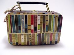 Decoupaged Wooden Mini Suitcase Books Library