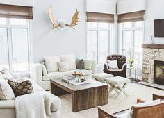 Neutral lake house living room via Coco + Kelley.