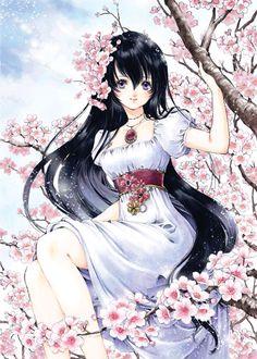 Cherry tree princess with long black hair, violet eyes, white dress, & pink sakura flowers by manga artist Shiitake.