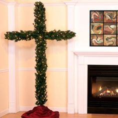 christmas tree shaped like a cross - Google Search Christmas And New Year, All Things Christmas, Christmas Trees, Christmas Decorations, Holiday Decor, Cross Tree, Alternative Christmas Tree, Tree Shapes, Homemade Gifts