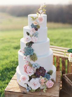 Ruffled | Kelsey Elizabeth Stacked Wedding Cake with Sugar Flowers