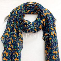 Woodland Fox Navy Blue scarf / Spring Summer Scarf / Autumn