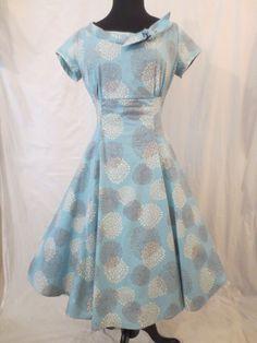 HEART OF HAUTE Heartbreaker Beverly Dress - Pom Pom - $29.99 at JOHNNY BOMBSHELL #retro #rockabilly #fullskirt #blue #heartofhaute