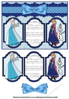Frozen Panel Card by Aisne Smith An card front featuring Frozen characters with cut-out panel pieces and bow to enhance the overall card. Frozen Characters, Disney Theme, Quick Cards, A5, Decoupage, Card Making, Bows, Create, Ideas