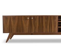 Tuck away electronics inside the open and enclosed storage compartments of this wood and veneer Mid-century style media console. Office Furniture Design, Living Room Furniture, Small Office Desk, Online Business From Home, Large Desk, Storage Compartments, Mid Century Style, Staying Organized, Mid-century Modern