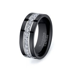 Wedding band for him  Rare Black Tungsten Carbide Ring With Brilliant by TungstenOmega