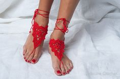 Barefoot sandles Red sandal Wedding beach party by RamuneCrochet