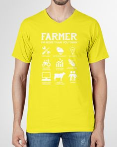 Farmer More Than You Think Funny s - Neon Yellow farmer party, farmer character, farmer style #agriculture #outdoors #food, dried orange slices, yule decorations, scandinavian christmas Farmer Quotes, Yule Decorations, Orange Slices, Scandinavian Christmas, Neon Yellow, Agriculture, V Neck T Shirt, Thinking Of You, Outdoors