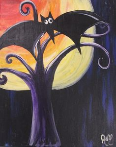 Super cute Halloween painting with a bat, moon and tree.
