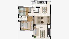 Planta opção do apto 85 m² c/ living ampliado ficando com 2 dorms (1 suite)