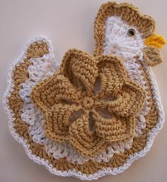 Crocheted Chicken Potholder Made From Cotton Yarn