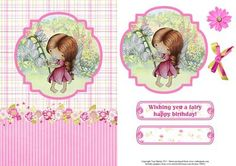 Wishing you a fairy happy birthday card topper decoupage on Craftsuprint designed by Toni Martin - Brightly coloured card front / topper featuring a cute fairy in the garden. Includes decoupage, a sentiment and a co-ordinating bow and flower for you to enhance your card as desired. Makes a lovely birthday card for an adult or a little girl. - Now available for download!