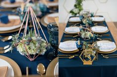 Table Setting | Steel Blue Geometric Geode Wedding Shoot | Royal Blue and Gold Wedding Color Theme Inspired from a Geometric Shapes | Modern, Unique and Gorgeous Wedding Decor You Must See Before Your Big Day! - Inspired Bride