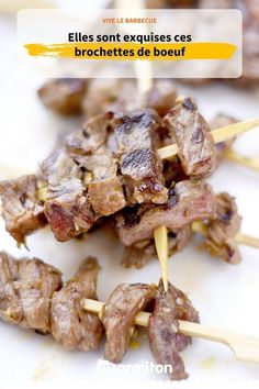 Brochettes de boeuf, la base pour l'été #brochette #boeuf #barbecue #marmiton #recettemarmiton #recette #cuisine Barbecue Grill, Grilling Recipes, Food And Drink, Breakfast, Comme, Sausage Kabobs, Grilling, Meat, Cooking Recipes