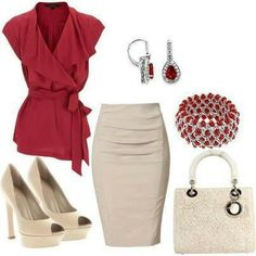 Ruched pencil skirt and wrap shirt