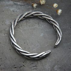Men's Sterling Silver Thick String Braided Cuff Bracelet - Jewelry1000