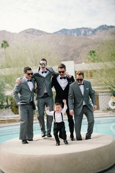 grey suits + black bowtie // groomsmen style Palm Springs is known for it's Old Hollywood style and it's bright, sunny days.This black and gold Palm Springs wedding seems to be the epitome of the city. Wedding Groom, Wedding Attire, Gold Wedding, Wedding Pictures, Wedding Bells, Dream Wedding, Palm Springs, Old Hollywood, Hollywood Style