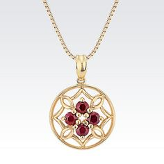 """Round Ruby Cluster Pendant in 14k Yellow Gold (18"""")"""