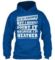 T Shirt Name Heather!! Royal Sweatshirt Front