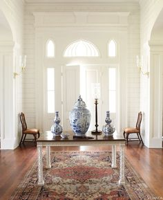 Blue and White porcelain in VERANDA. Interior Design by Furlow Gatewood.