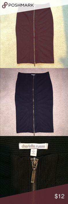 NWOT Zip up Pencil Skirt NWOT! Never worn before. Black Midi Pencil Skirt with Zip up design Charlotte Russe Skirts Midi