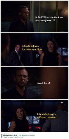 Agents of S.H.I.E.L.D. S02E05 - A Hen in the Wolf House - I should ask you a different question    Lance Hunter, Bobbi Morse