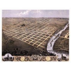 Old Map of Topeka Kansas 1869 Shawnee County Canvas Art - (36 x 54)