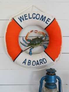 Welcome Aboard Life Ring. Orange, White and Navy. Beach Cottage Nautical Decor for Coastal Living by on Etsy, Sold Nautical Wreath, Nautical Theme, Life Preserver, Welcome Aboard, Coastal Decor, Coastal Living, Porch Signs, Beach Cottages, Beach Art