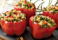 Vegetarian Curry Stuffed Peppers with Thai Curry Rice and Mushrooms Wild Rice Salad, Wild Rice Soup, Thai Recipes, Wine Recipes, Ceramic Baking Dish, Curry Rice, Vegetarian Curry, Homemade Wine, Stuffed Mushrooms