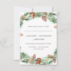 Christmas Wedding | Watercolor RSVP w/Meal Choice - tap/click to get yours right now! #tis #the #season #wedding #christmas