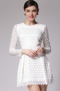 White Round Neck Long Sleeve Lace Dress