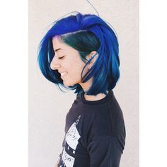 Pravana blue, green, and purple. A line bob with a different color undercut. Done by Shurie at the Colour bar.