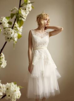 Mathilde--Lace and Tulle Wedding dress Etsy Exclusive  $1,375.00, via Etsy.  Gorgeous!
