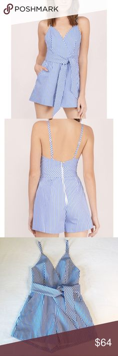 """Finders Keepers Blow Your Mind striped romper Finders Keepers Blow Your Mind striped romper. Bright blue and white, nautical inspired pencil stripes. Surplice, pleated neckline. Slant hip front pockets. Optional waist belt tie. Adjustable spaghetti straps. Back zipper. Fully lined. Brand sold at Revolve, Urban Outfitters, Nordstrom. Currently sold out. Size XS. EUC, excellent used condition. Measurements taken laid flat. 15"""" bust, 13"""" waist, 2 ½"""" inseam, 30"""" length. Finders Keepers Pants…"""