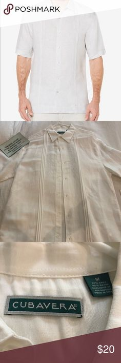 NWT CUBAVERA Guayabera linen men's shirt White linen shirt with embroidery. Beautiful and very elegant. NWT Cubavera Shirts Dress Shirts